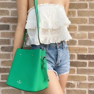 Kate Spade Green Leather Small Bucket Shoulder Bag